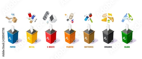 Garbage containers in different colors, vector isolated illustration Tablou Canvas