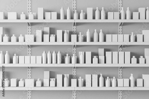 Obraz na płótnie Close up of supermarket shelves with products