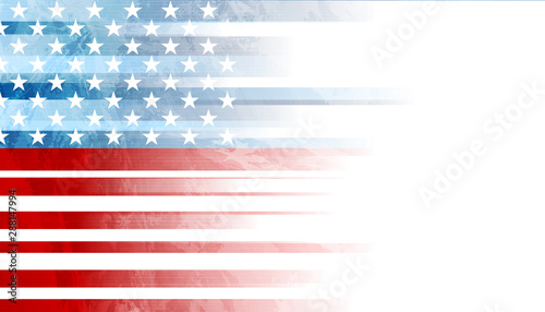 USA colors, stars and stripes abstract grunge design. Independence Day modern vector background. Corporate concept american flag