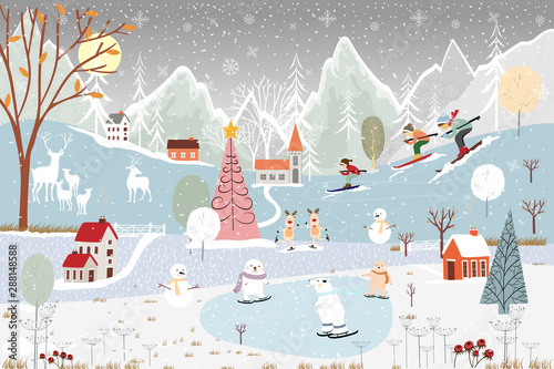 Garden Poster Light blue Illustrator winter landscape,Vector of horizontal banner of winter wonderland at countryside with snow covering, polar bear playing ice skates in the winter park and family skiing on the mountain