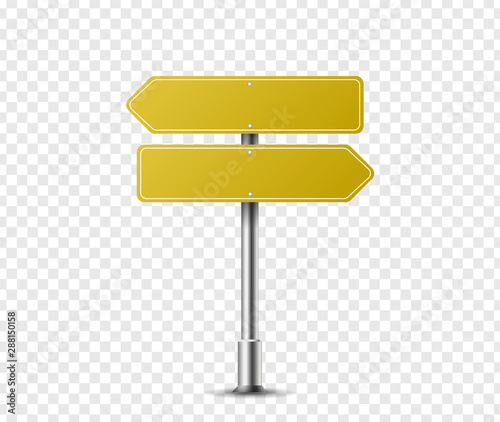 Fotografía  Realistic arrow traffic sign on metal steel pole isolated