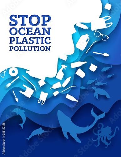 Photographie  Stop ocean plastic pollution, vector paper cut illustration