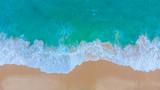Aerial view sea wave white sand beach