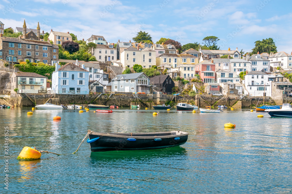 Fototapety, obrazy: Boats moored at beautiful Cornish harbour town Polruan in South Cornwall, England
