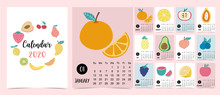 Doodle Fruit Calendar Set 2020 With Apple,strawberry;lemon;kiwi,broccoli;pumpkin For Children.Can Be Used For Printable Graphic.Editable Element