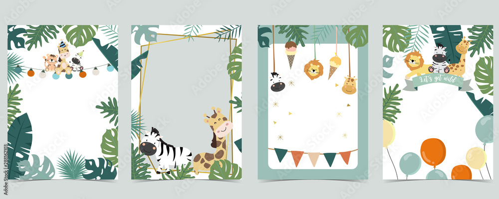 Fototapeta Green animal collection of safari frame set with lion,giraffe,zebra vector illustration for birthday invitation,postcard,logo and sticker