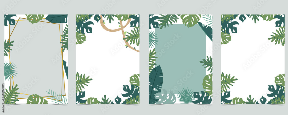 Fototapeta Green animal collection of safari frame set with leaf,leaves vector illustration for birthday invitation,postcard,logo and sticker