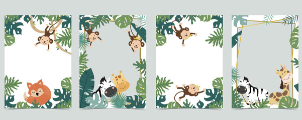 Green animal collection of safari frame set with lion,fox,giraffe,zebra,monkey vector illustration for birthday invitation,postcard,logo and sticker