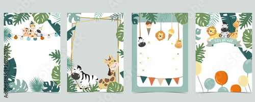fototapeta na ścianę Green animal collection of safari frame set with lion,giraffe,zebra vector illustration for birthday invitation,postcard,logo and sticker