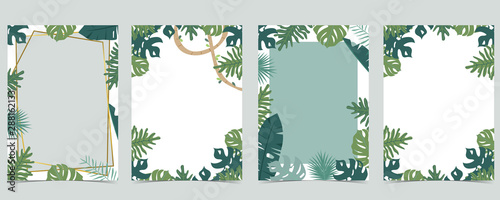 Green animal collection of safari frame set with leaf,leaves vector illustration for birthday invitation,postcard,logo and sticker - fototapety na wymiar