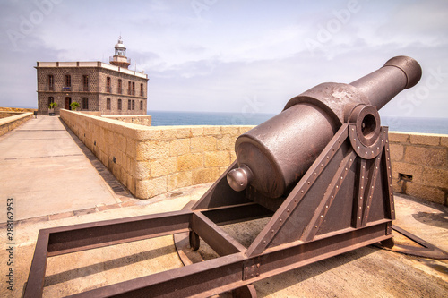 Historical cannon to defend the city Melilla, a Spanish province bordering Morocco in Africa.