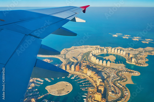 Fototapeta  Flying above Pearl-Qatar Island