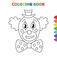 Cute Cartoon Sad Clown Head Co...