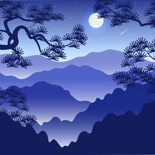 Night Landscape With Foggy Mountains And  Full Moon