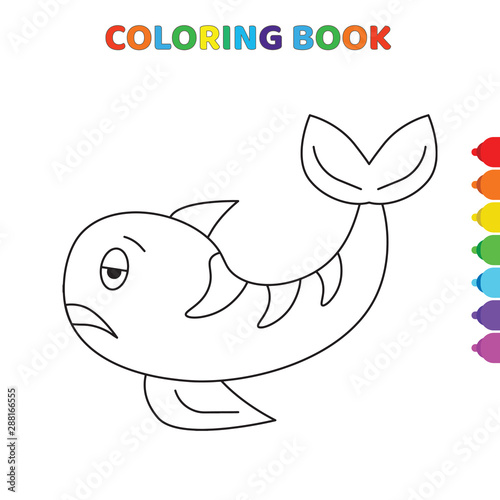 Foto auf AluDibond cute cartoon sad ti shark coloring book ...