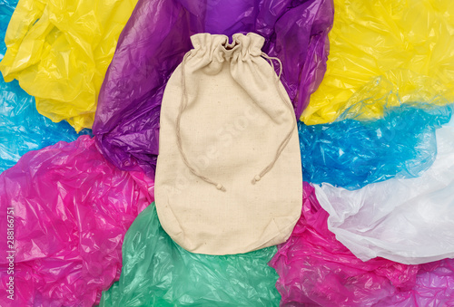 Cotton sack on plastic bags