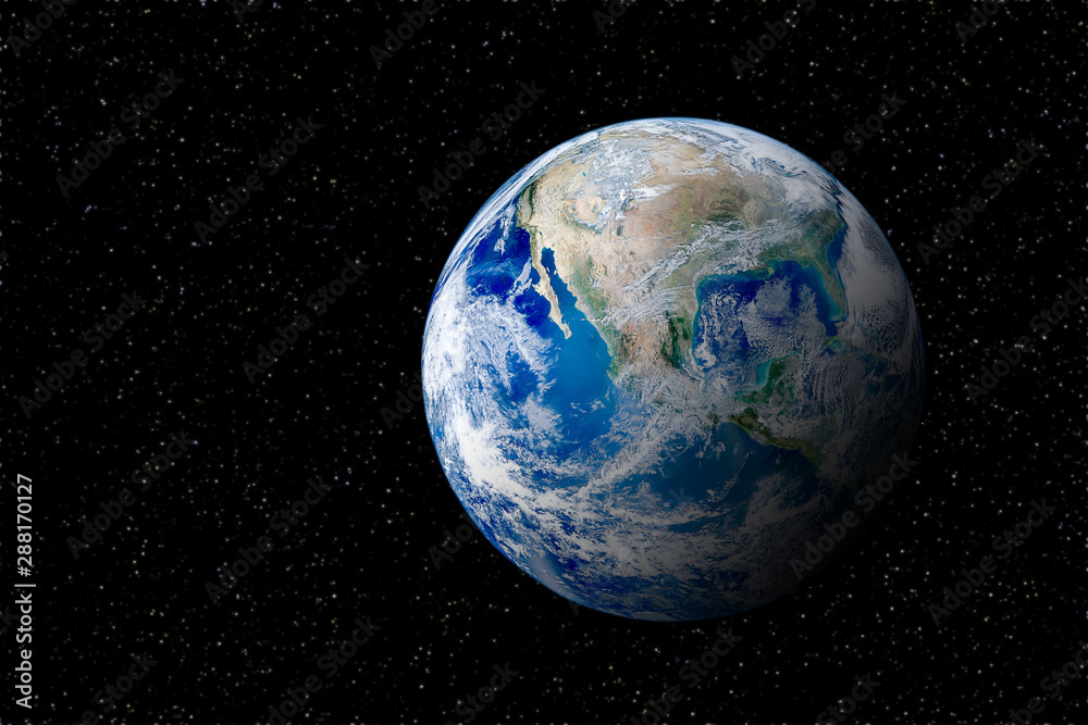 Fototapety, obrazy: Blue planet earth globe view from space in night sky. (Elements of this image furnished by NASA.)