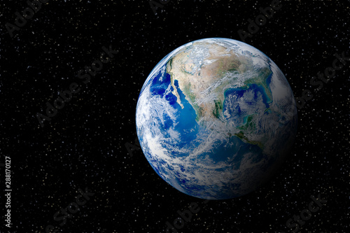 Obraz Blue planet earth globe view from space in night sky. (Elements of this image furnished by NASA.) - fototapety do salonu