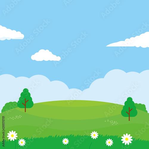Photo sur Aluminium Piscine Nature landscape vector illustration. Field cartoon illustration suitable for kids theme background