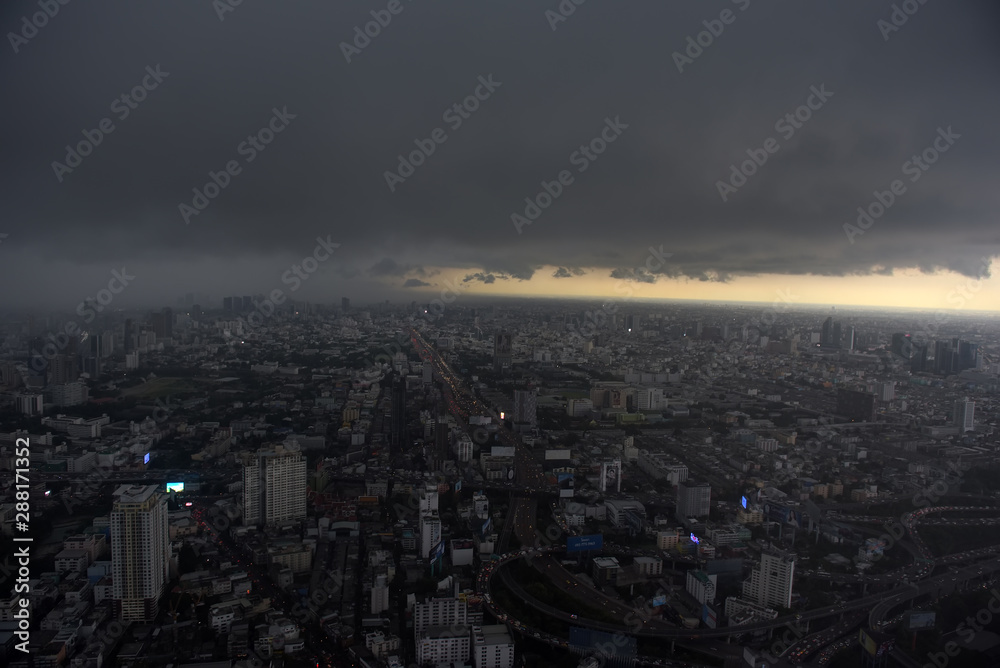 Fototapety, obrazy: View from Bangkok sky  of the city and the sky before the rain