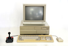 Classic Retro PC From The Eighties With Monitor, Mouse And Joystick. Used For Gaming, Writing And Graphics On White