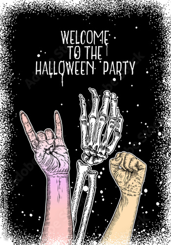 Halloween holiday black white card with hand drawing. Hand drawn flyer posters and greeting card with handwritten lettering text words quote and phrase. Vector. © desertsands