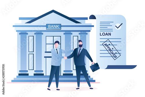 Fototapeta Businessmen handshake, successful business negotiations and approved loan. obraz