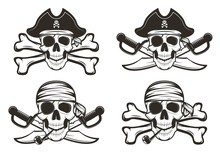 Pirate Skull Set Vector Hand D...