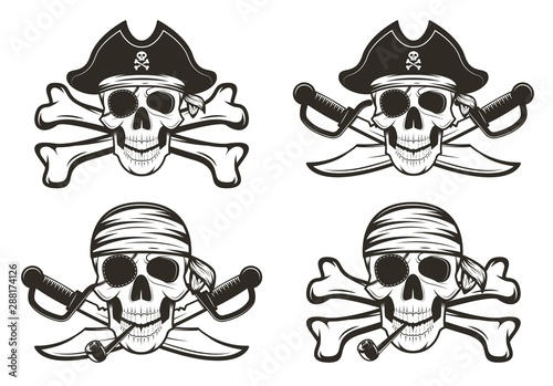Pirate skull set vector hand drawn illustration Wallpaper Mural