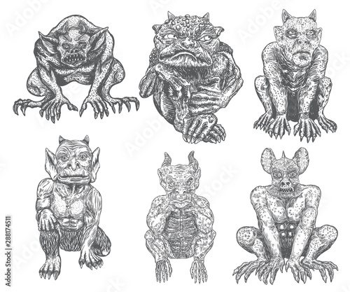 Photo Set of demon vampires, human like monsters creatures chimera with fangs horns, and claws