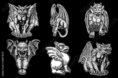 Fototapeta Set of mythological ancient creatures animals with bat like wings and horns