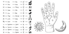 Fortune Teller Hand With Palmistry Diagram And Zodiac Constellations. Magic Alchemy Spirituality Symbol. Hand Drawn Sketchy Palm Reading With Mystic And Occult Hand Drawn Esoteric Symbols. Vector.