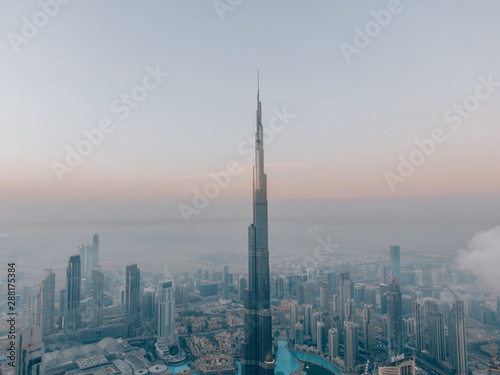 Obraz na plátně  Aerial of the Burj Khalifa while sunrise in Dubai, United Arab Emirates