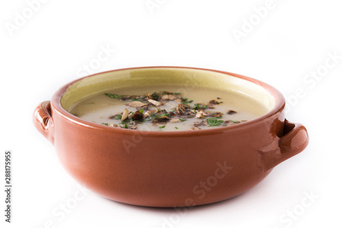 Homemade mushroom soup isolated on white background.