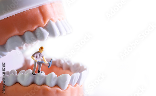 Small figure worker cleaning tooth model as medical and healthcare concept, Regular checkups are essential to oral health Wallpaper Mural