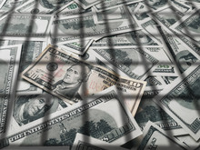 Shadow From The Lattice On Dollar Bills. The Concept Of Prison, The Penalty For Money Laundering, Theft, Crime And The Penalty For Tax Evasion. Corruption And Counterfeiting.