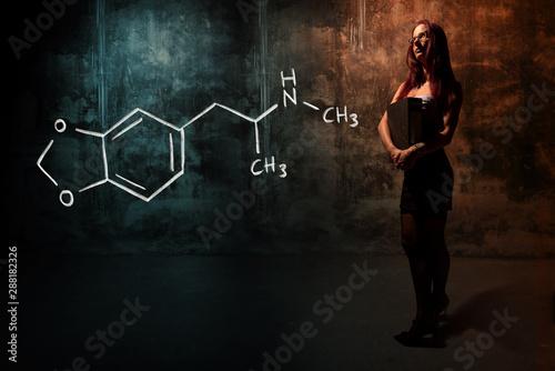 Leinwand Poster Sexy girl or secretary or female student presenting handdrawn chemical formula o