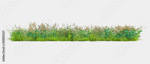 Photo Stands Grass Background illustration of green field of grass with flowers. 3D rendering. Useful for commercial banners and print