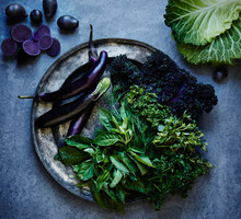 Green And Purple Vegetables / Produce Still Life