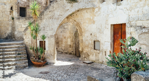 Street of the historic center of Matera Italy - European capital of culture 2019
