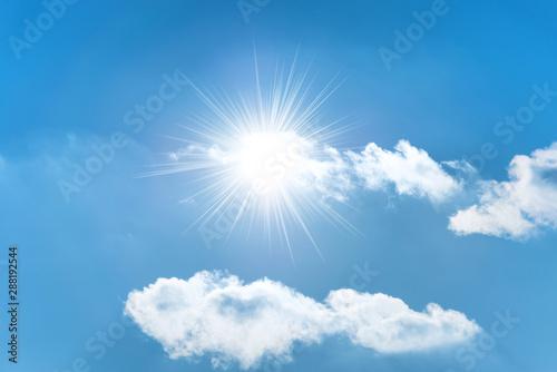 Canvastavla  Sun with sun rays on the blue sky with clouds