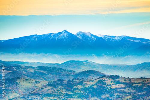 Poster Bleu Beautiful blue mountains and hills at sunset time