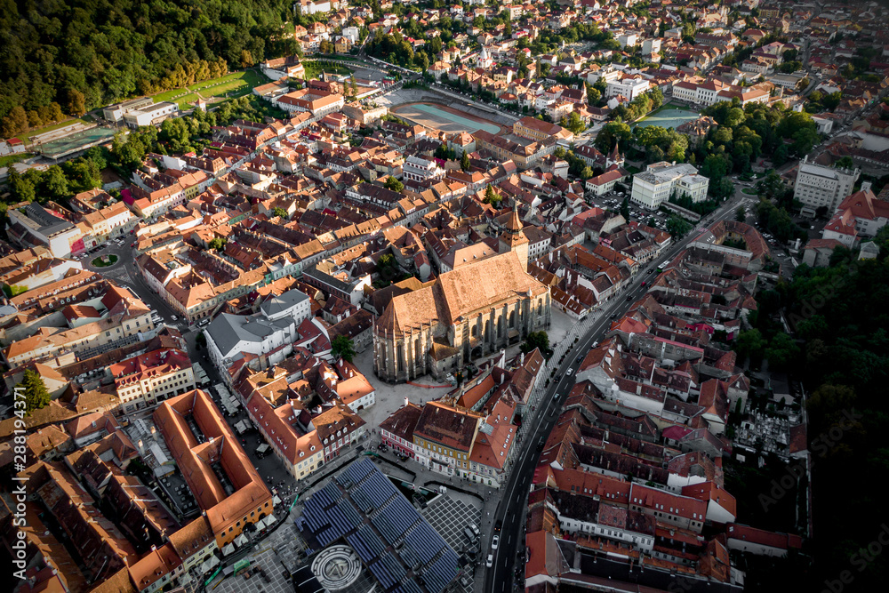 Fototapety, obrazy: The old Romanian city of Brasov, the center of Transylvania. Top view from a quadrocopter.