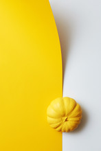 Creative Painted Yellow Pumpkin - Holiday Card On A Duotone Paper Background. Halloween Party Concept.