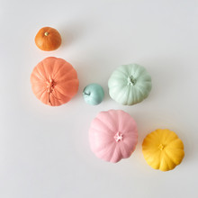 Colorful Pattern From Various Craft Painted Pumpkin In A Pastel