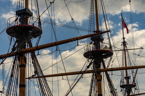 Voronezh, Russia, June 11, 2019: View of masts of  ship of Goto of Predestination moored on Admiralteyskaya Square Wallpaper Mural