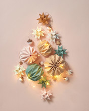 Greeting Card With Colorful Handcraft Paper Decorations, Christm