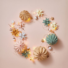 Round Greeting Handmade Frame From Paper Origami Balls, Stars An