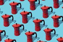Mosaic Of Red Moka Pots