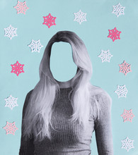Anonymous Woman Collage With Snowflakes